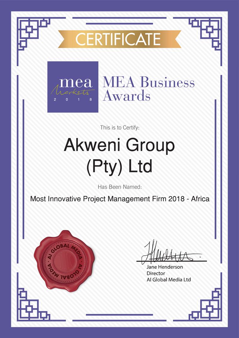 Akweni Certifications